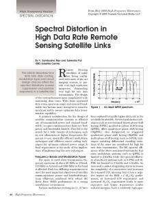 Remote Sensing. Spectral Distortion in High Data Rate Remote Sensing Satellite Links SPECTRAL DISTORTION. This article describes how