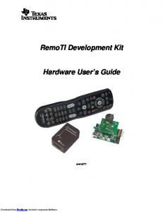 RemoTI Development Kit. Hardware User s Guide