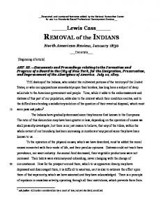 REMOVAL of the INDIANS