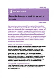Removing barriers to work for parents in poverty