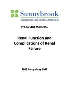 Renal Function and Complications of Renal Failure