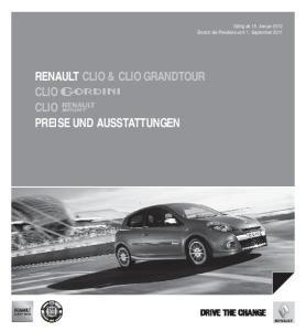 RENAULT CLIO & CLIO GRANDTOUR CLIO CLIO PREISE UND AUSSTATTUNGEN DRIVE THE CHANGE