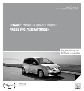 Renault Modus & grand modus Preise und Ausstattungen