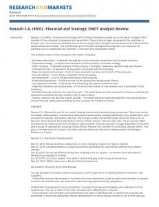 Renault S.A. (RNO) - Financial and Strategic SWOT Analysis Review