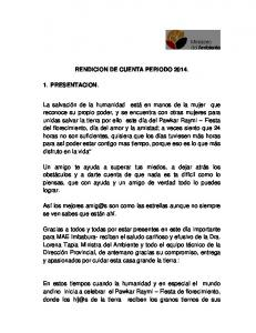 RENDICION DE CUENTA PERIODO 2014