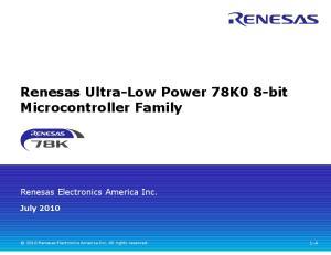 Renesas Ultra-Low Power 78K0 8-bit Microcontroller Family