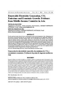 Renewable Electricity Generation, CO 2 Emissions and Economic Growth: Evidence from Middle-Income Countries in Asia