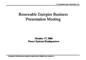 Renewable Energies Business Presentation Meeting