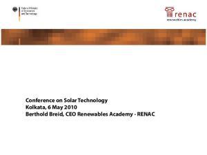 Renewable Energies in Germany - Political Framework and Market Development