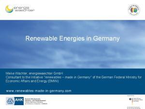 Renewable Energies in Germany