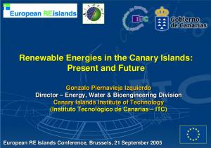 Renewable Energies in the Canary Islands: Present and Future