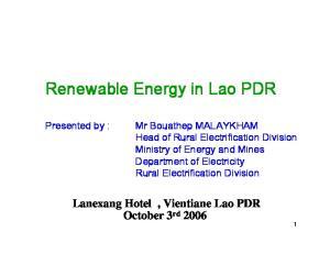 Renewable Energy in Lao PDR