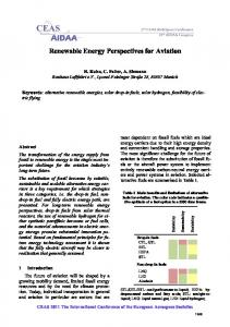 Renewable Energy Perspectives for Aviation