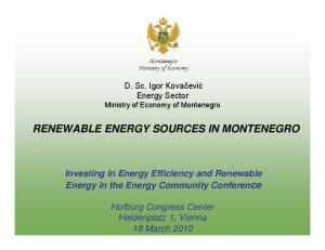 RENEWABLE ENERGY SOURCES IN MONTENEGRO