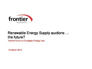 Renewable Energy Supply auctions the future?