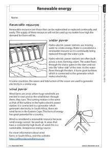 Renewable energy. Water power