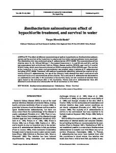 Renibacterium salmoninarum: effect of hypochlorite treatment, and survival in water
