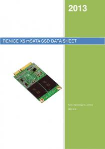 RENICE X5 msata SSD DATA SHEET