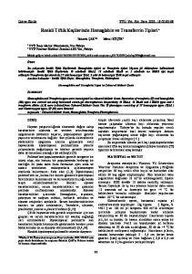 Renkli Tiftik Keçilerinde Hemoglobin ve Transferrin Tipleri*