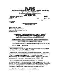Reno, Nevada Licensed to Practice in: (775) NEVADA FAX: (775) CALIFORNIA ILLINOIS November 9, 2014