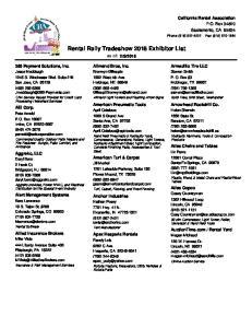 Rental Rally Tradeshow 2016 Exhibitor List