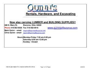 Rentals, Hardware, and Excavating
