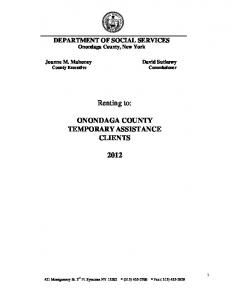 Renting to: ONONDAGA COUNTY TEMPORARY ASSISTANCE CLIENTS