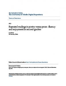 Repeated readings in poetry versus prose : fluency and enjoyment for second-graders
