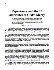 Repentance and the 13 Attributes of God s Mercy
