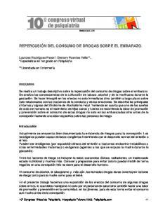 REPERCUSIÓN DEL CONSUMO DE DROGAS SOBRE EL EMBARAZO
