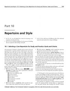 Repertoire and Style 10.1 Selecting a Core Repertoire for Study and Practice: Goals and Criteria