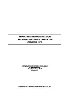 REPORT AND RECOMMENDATIONS RELATING TO COMPILATION OF THE CRIMINAL LAW