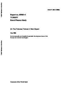 Report no v1 TURKEY Rural Finance Study