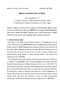 Report of Lecture-Tour in India