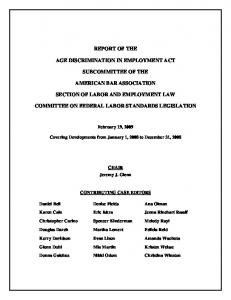 REPORT OF THE AGE DISCRIMINATION IN EMPLOYMENT ACT SUBCOMMITTEE OF THE AMERICAN BAR ASSOCIATION SECTION OF LABOR AND EMPLOYMENT LAW