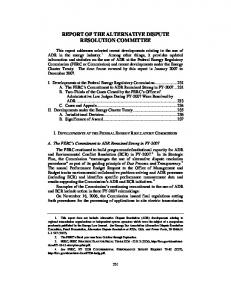 REPORT OF THE ALTERNATIVE DISPUTE RESOLUTION COMMITTEE