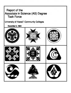 Report of the Associate in Science (AS) Degree Task Force