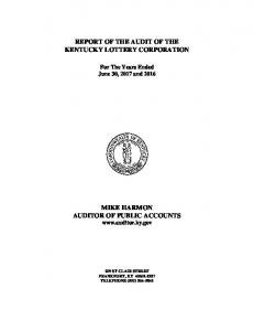 REPORT OF THE AUDIT OF THE KENTUCKY LOTTERY CORPORATION