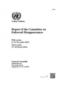 Report of the Committee on Enforced Disappearances
