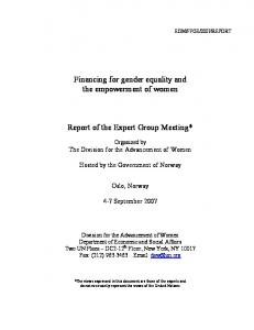 Report of the Expert Group Meeting*
