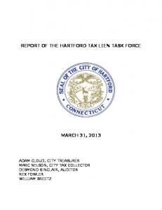 REPORT OF THE HARTFORD TAX LIEN TASK FORCE