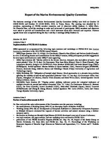 Report of the Marine Environmental Quality Committee