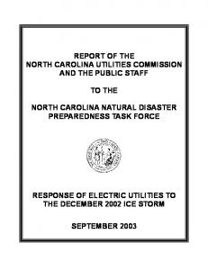 REPORT OF THE NORTH CAROLINA UTILITIES COMMISSION AND THE PUBLIC STAFF TO THE NORTH CAROLINA NATURAL DISASTER PREPAREDNESS TASK FORCE