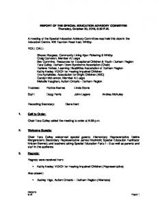 REPORT OF THE SPECIAL EDUCATION ADVISORY COMMITTEE Thursday, October 20, 2016, 6:30 P.M