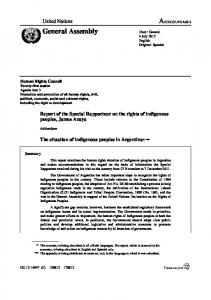 Report of the Special Rapporteur on the rights of indigenous peoples, James Anaya. The situation of indigenous peoples in Argentina*, **