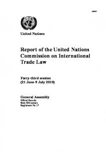 Report of the United Nations Commission on International Trade Law