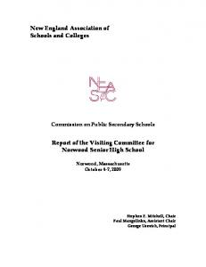 Report of the Visiting Committee for Norwood Senior High School