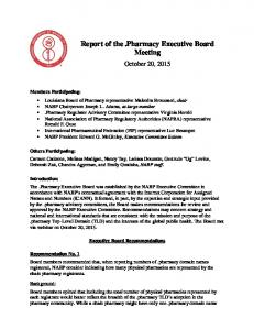 Report of the.pharmacy Executive Board Meeting