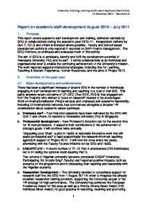 Report on academic staff development August 2010 July 2011