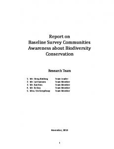 Report on Baseline Survey Communities Awareness about Biodiversity Conservation